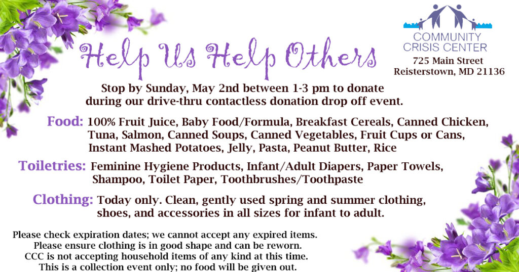 May 2021 Food and Clothing Drive - Details in Text Below